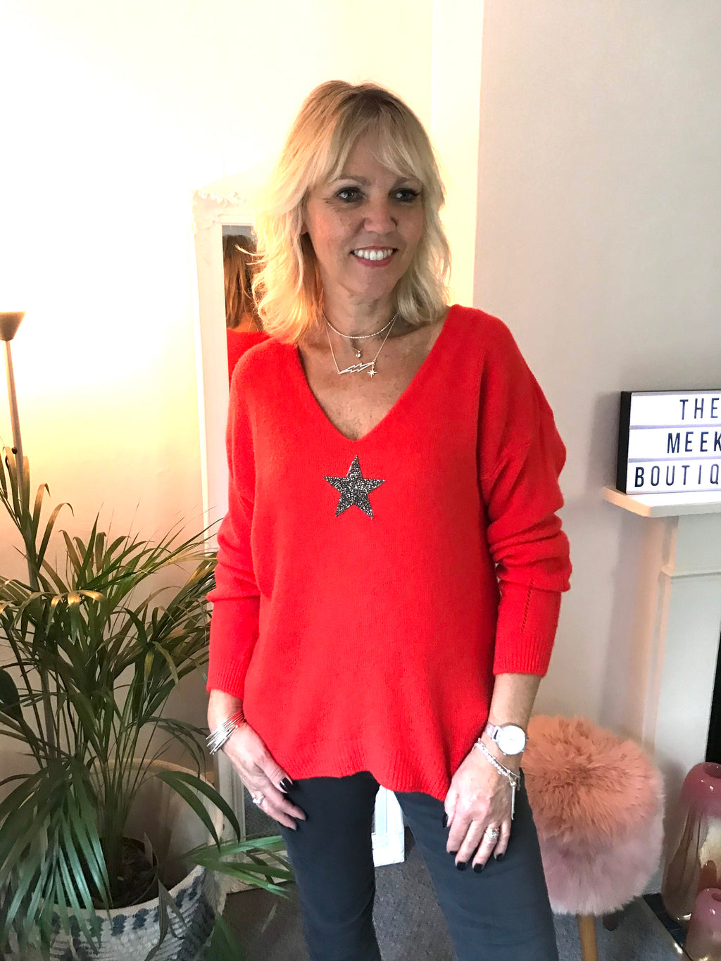 Coral Red Alpaca Jumper