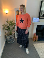 Coral Batwing Jumper with Glitter Star