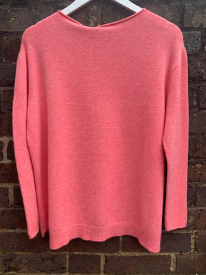 Ribbed Star Jumper in Coral