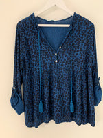 Teal Blue Leopard Blouse