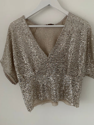 Champagne & Ivory Sequin Top