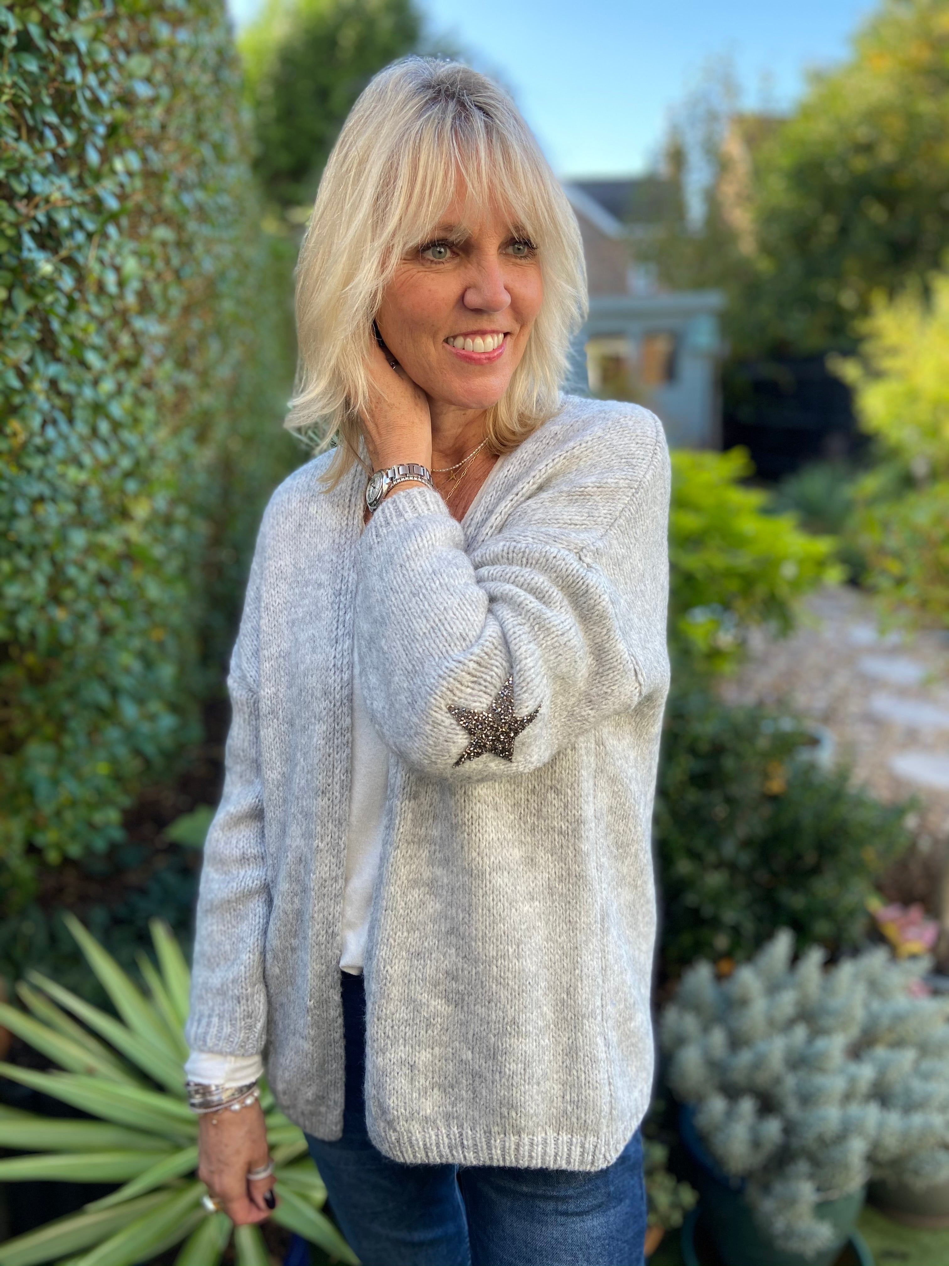 Cardi with Elbow Stars in Silvery Grey