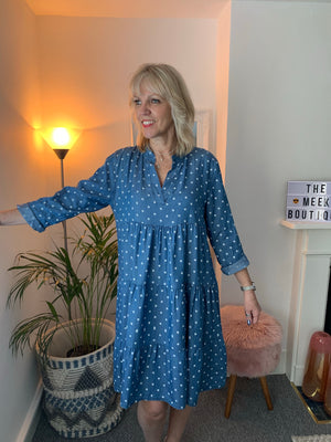 Denim Dot Dress