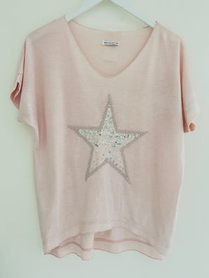 Shimmery Star Top in Blush Pink