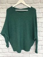 Green Ribbed Batwing Jumper