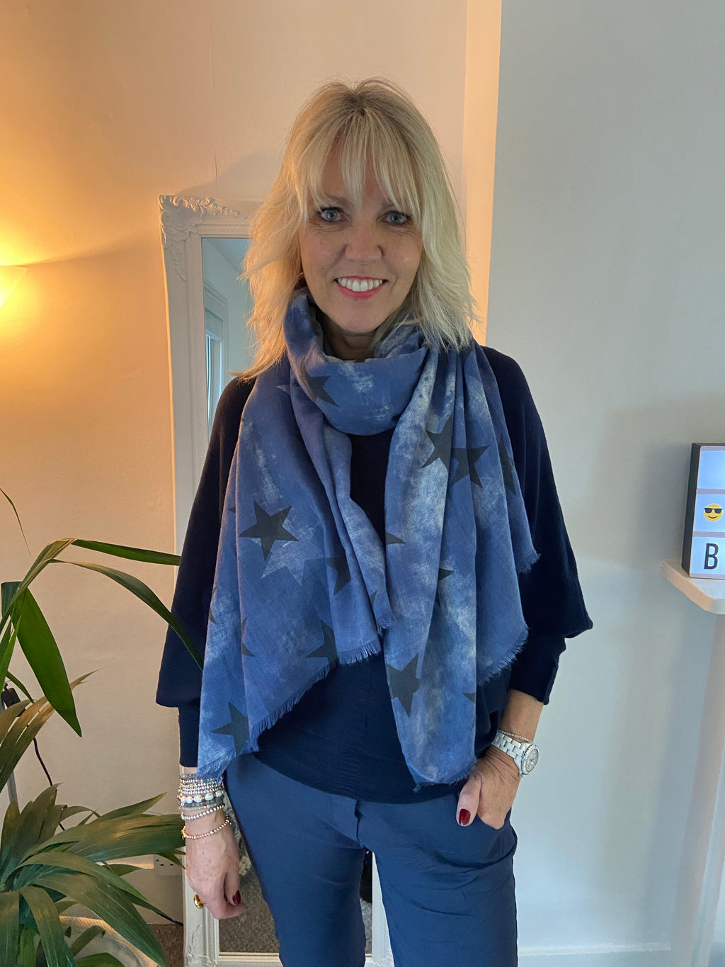 Denim Star and Cloud Scarf