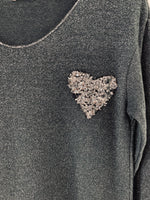 Shimmery Top with Sequin Heart