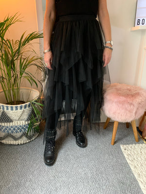 Black Tulle Tiered Skirt