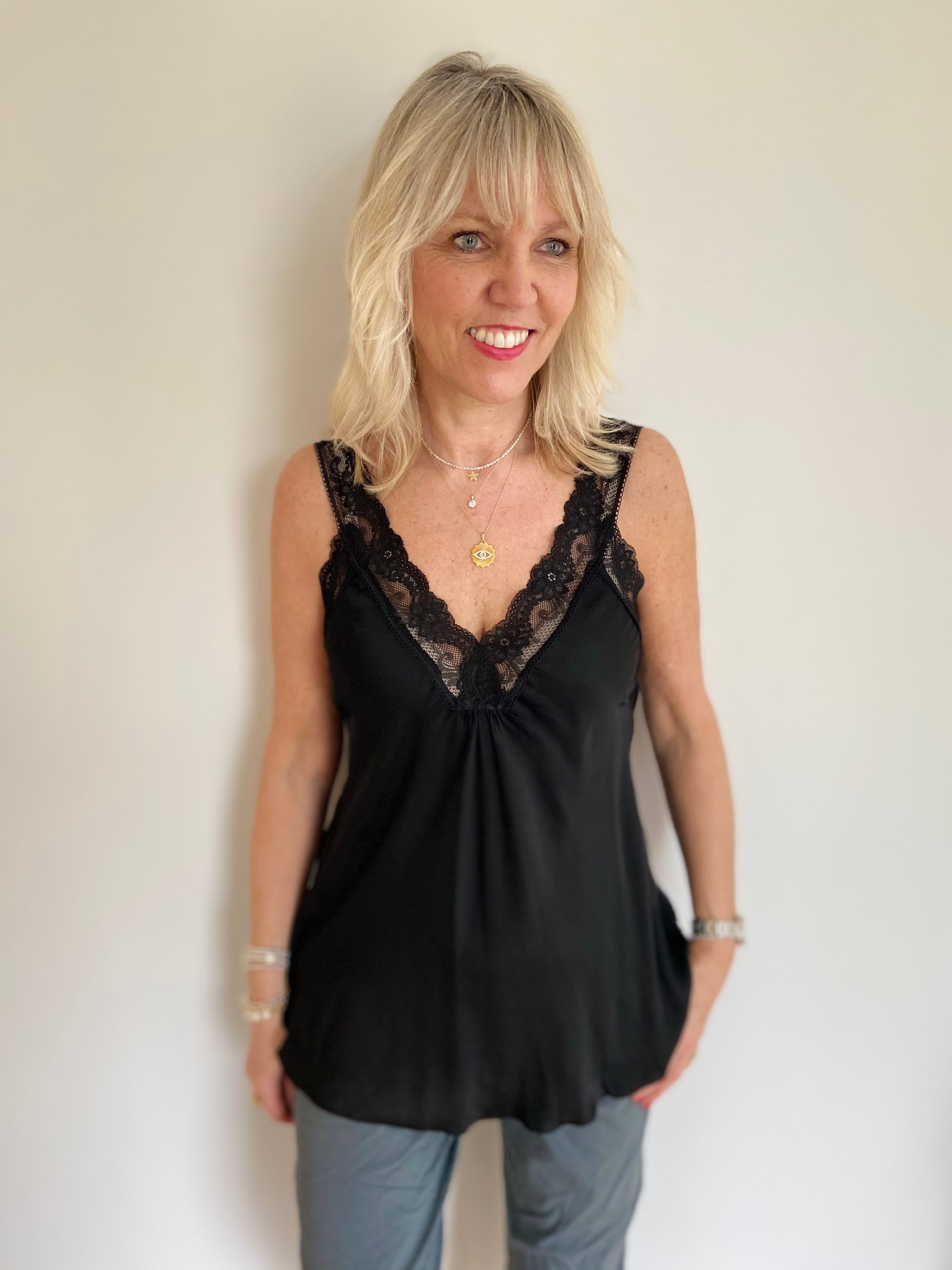 Silky Lace Trim Vest in Black