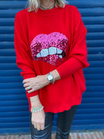 Lips Sweater in Red