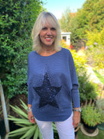 Ribbed Sequin Star Jumper in Blue