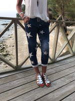Blue Cotton Star Print Joggers