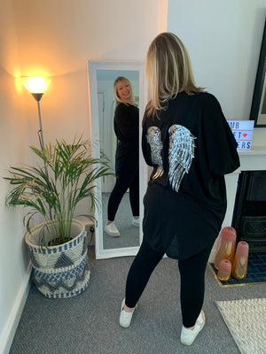 Black Tunic Dress with Angel Wings