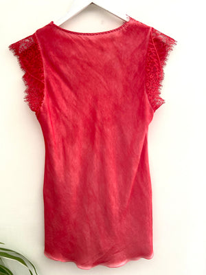 Silky Lace Trim Top in Coral Red