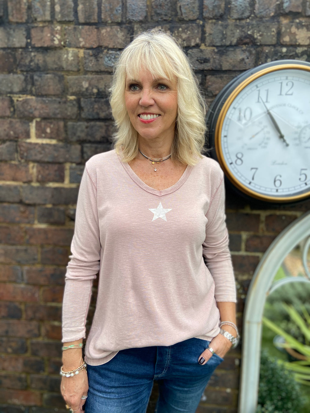 Vintage Star Tee in Rose Pink