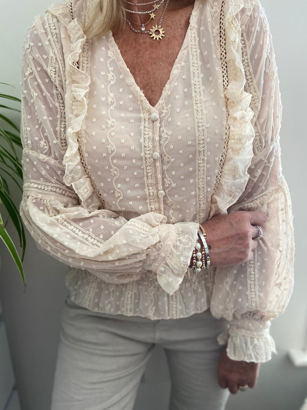 Dotty Blouse in Stone