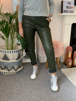 Khaki Leather Look Joggers