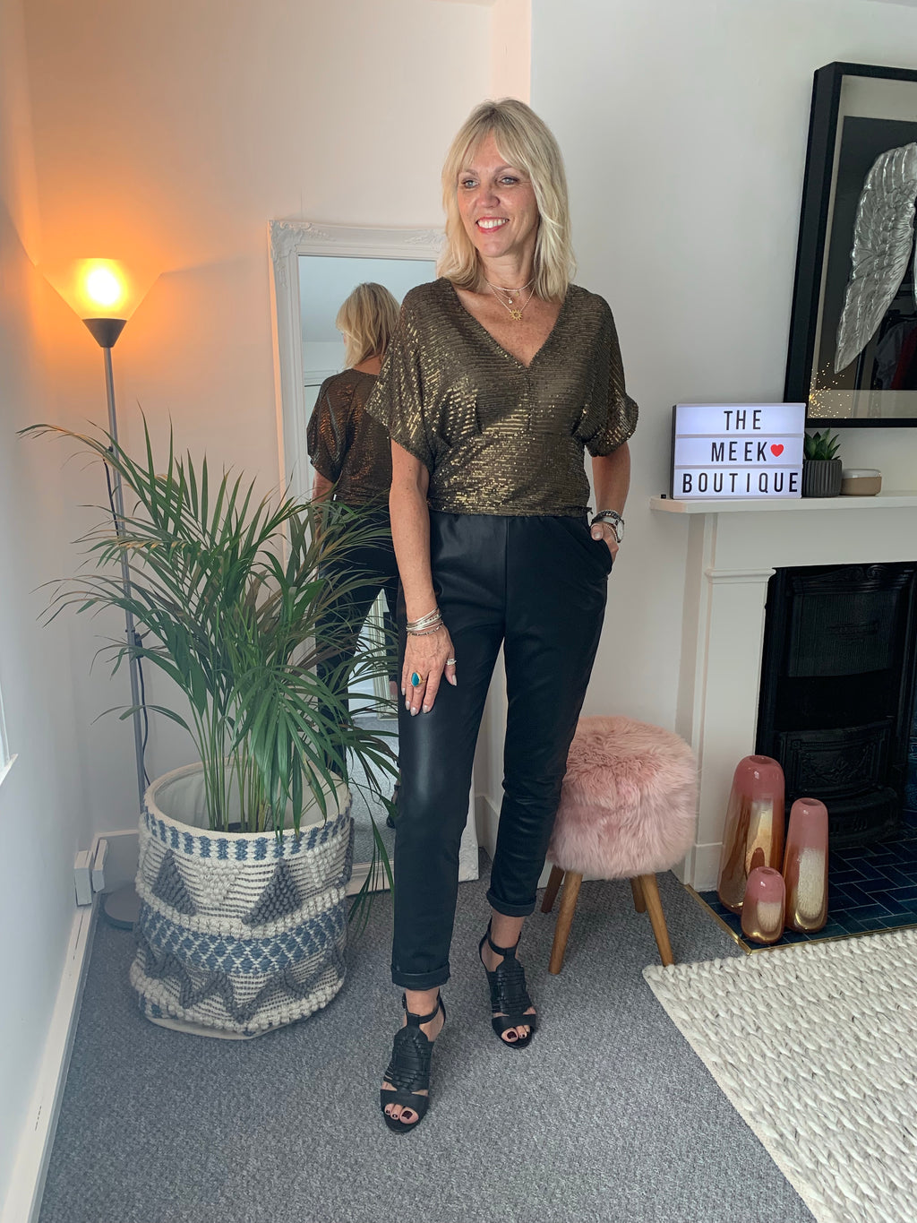 Khaki & Gold Sequin Top