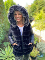 Black Reversible Quilted & Fur Jacket