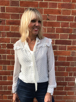Spotted Blouse with White Neck Tie