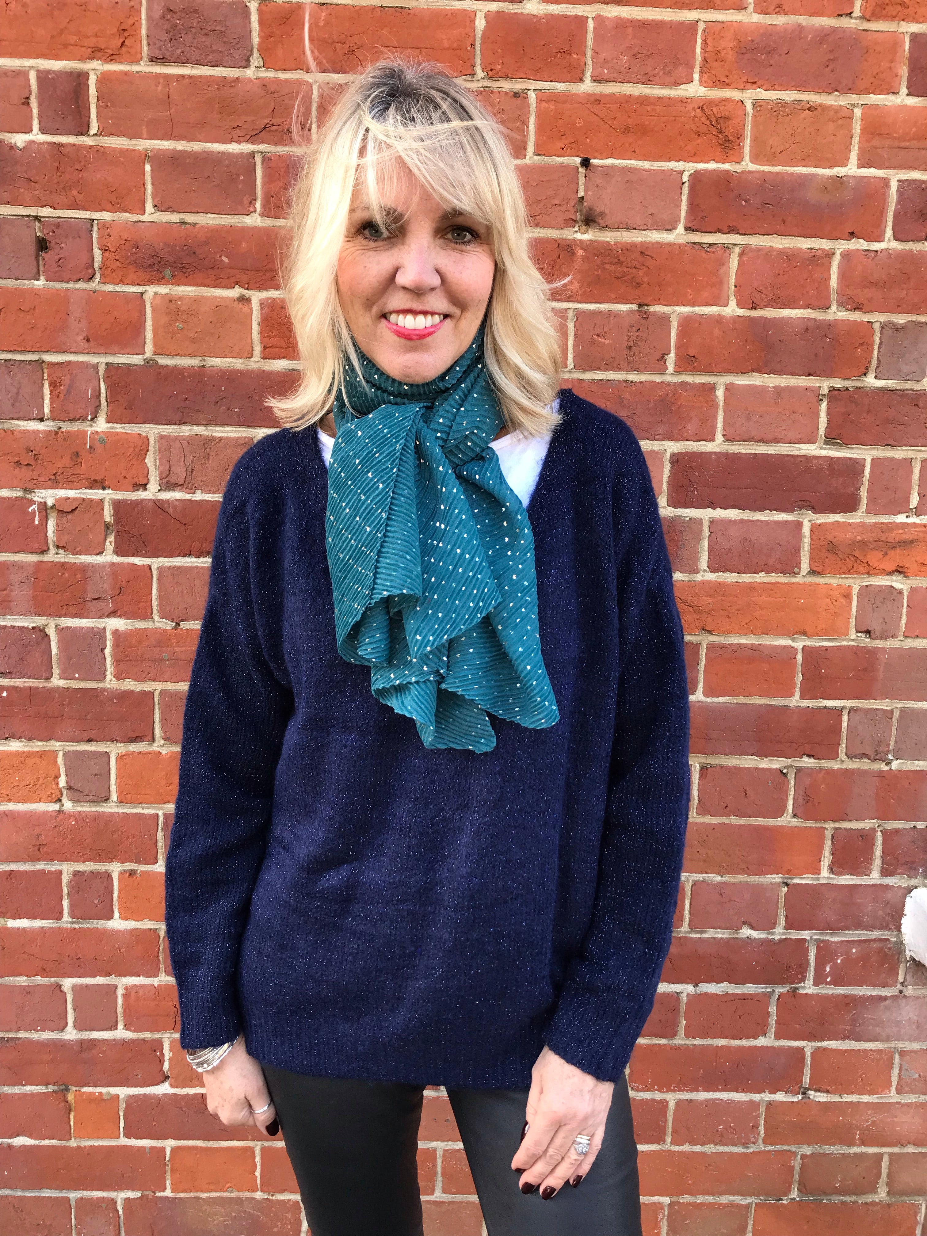 Teal Blue Crinkle Scarf with Silver Hearts