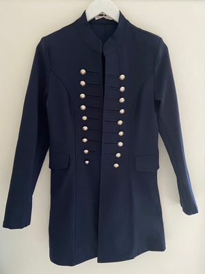 Navy Stretch Military Jacket with Double Buttons