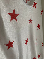 Star Tee in White & Red