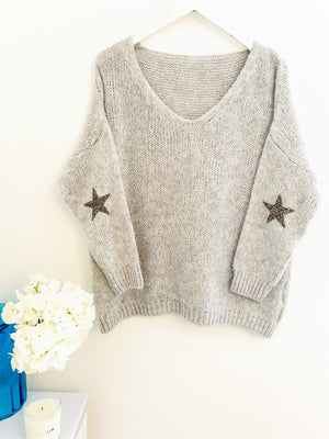 Jumper with Elbow Stars in Silvery Grey