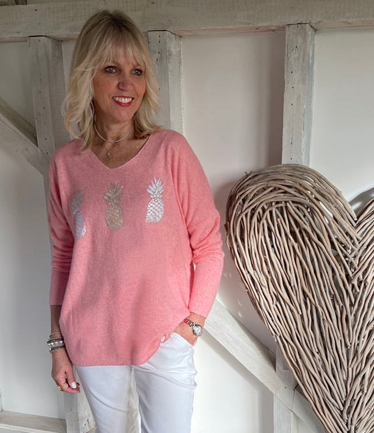 Pineapple Jumper in Coral