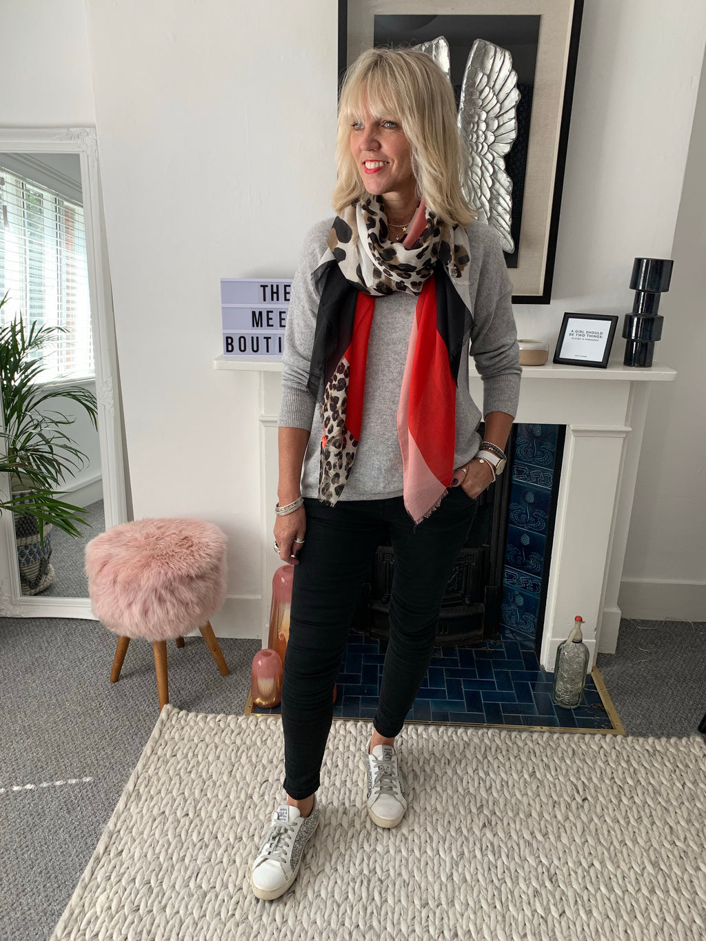 Leopard and Block Colour Scarf