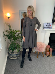 Grey Pleated Dress & Necklace