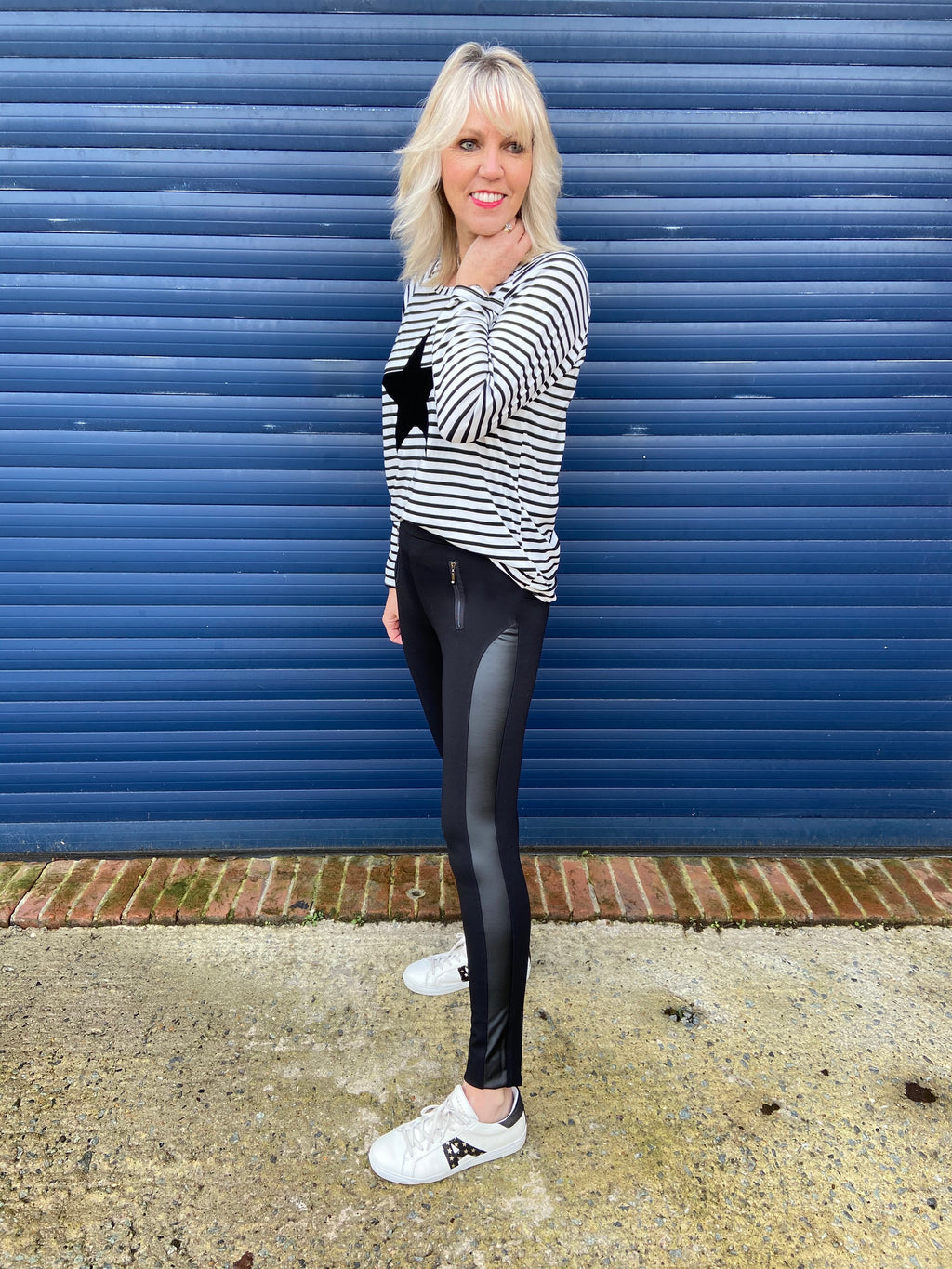 Sporty Leather Panel Leggings