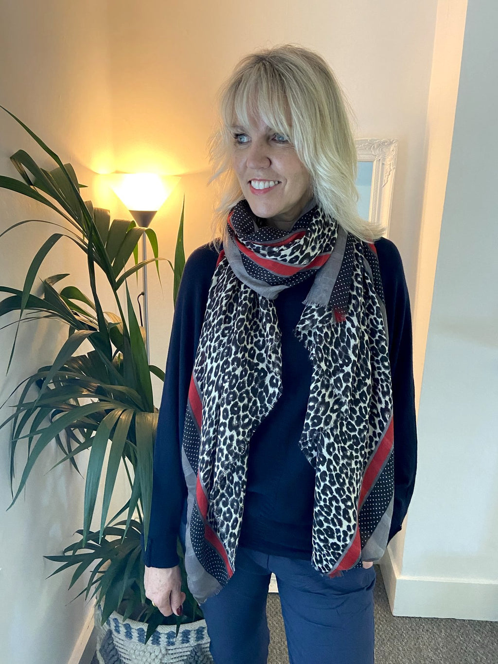 Leopard Print Scarf with Red Stripe