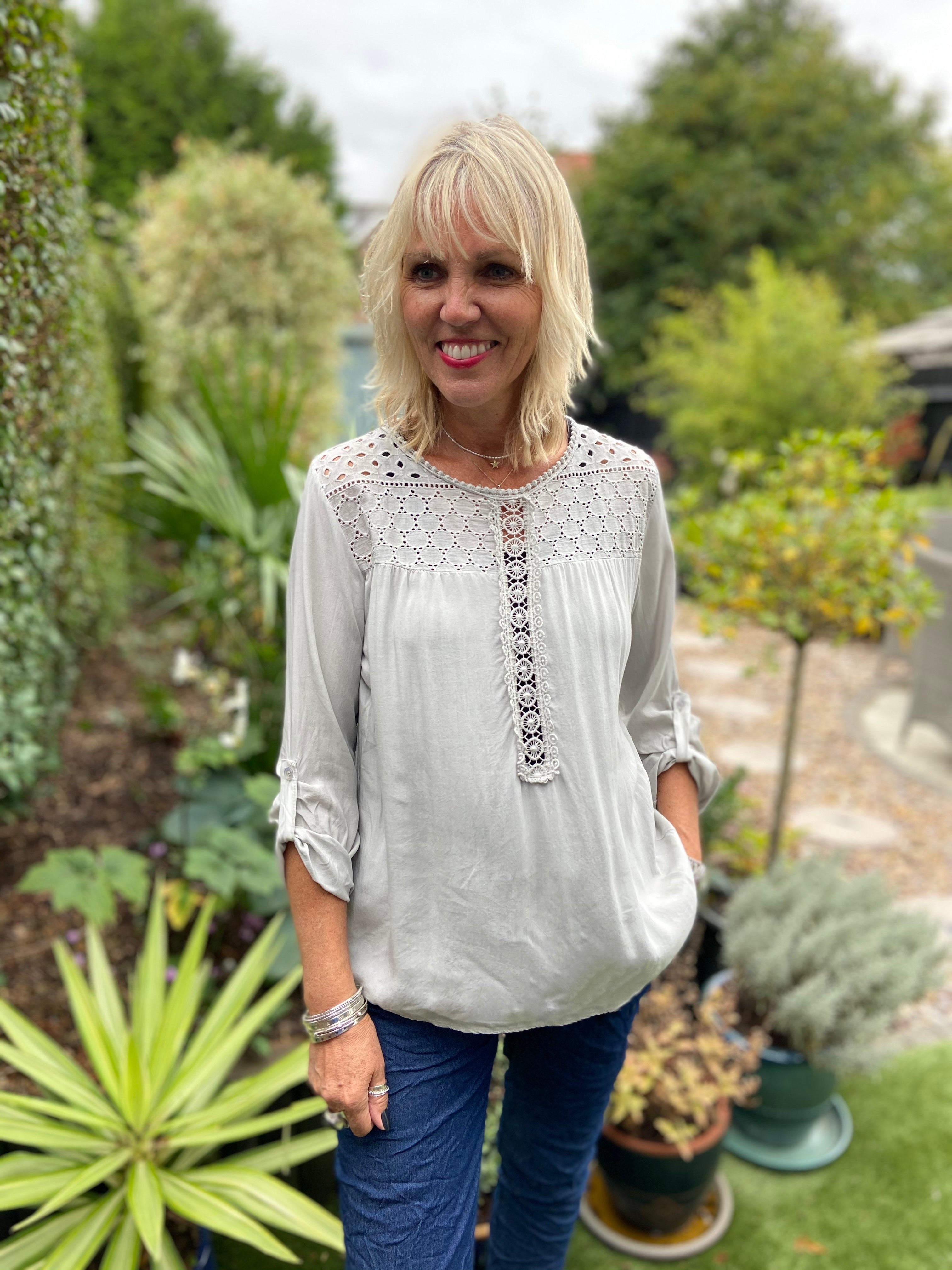 Blouse with Lace Yoke in Dove Grey