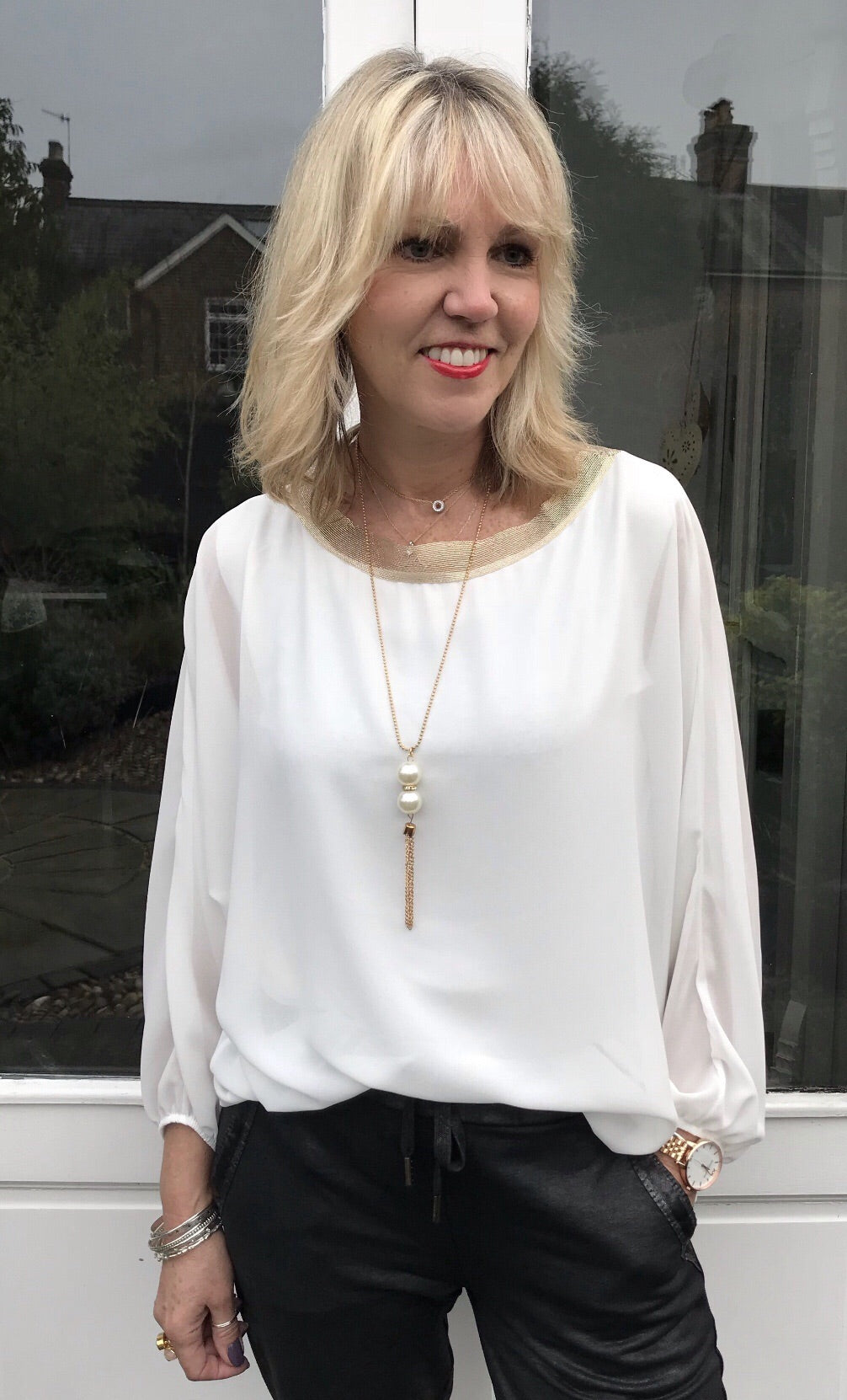 White Blouse with Gold Trim & Necklace