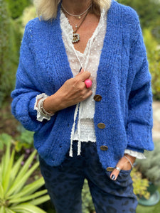 Cable Cardi in Blue