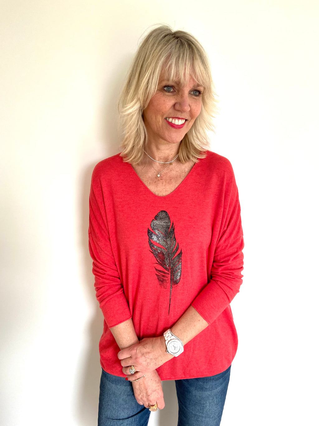 Feather Jumper in Red