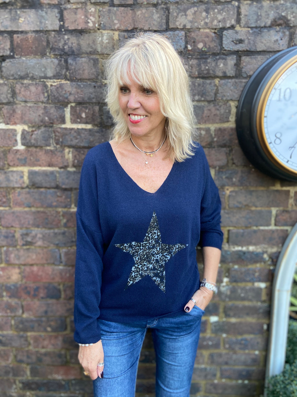 Leopard Star Cashmere Jumper in Navy