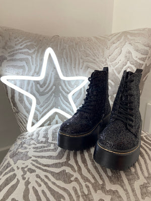 Glitter Boots with Chunky Soles