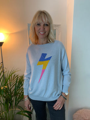 Blue Lightning Bolt Cashmere Jumper