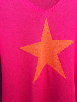 Hot Pink & Orange Star Jumper