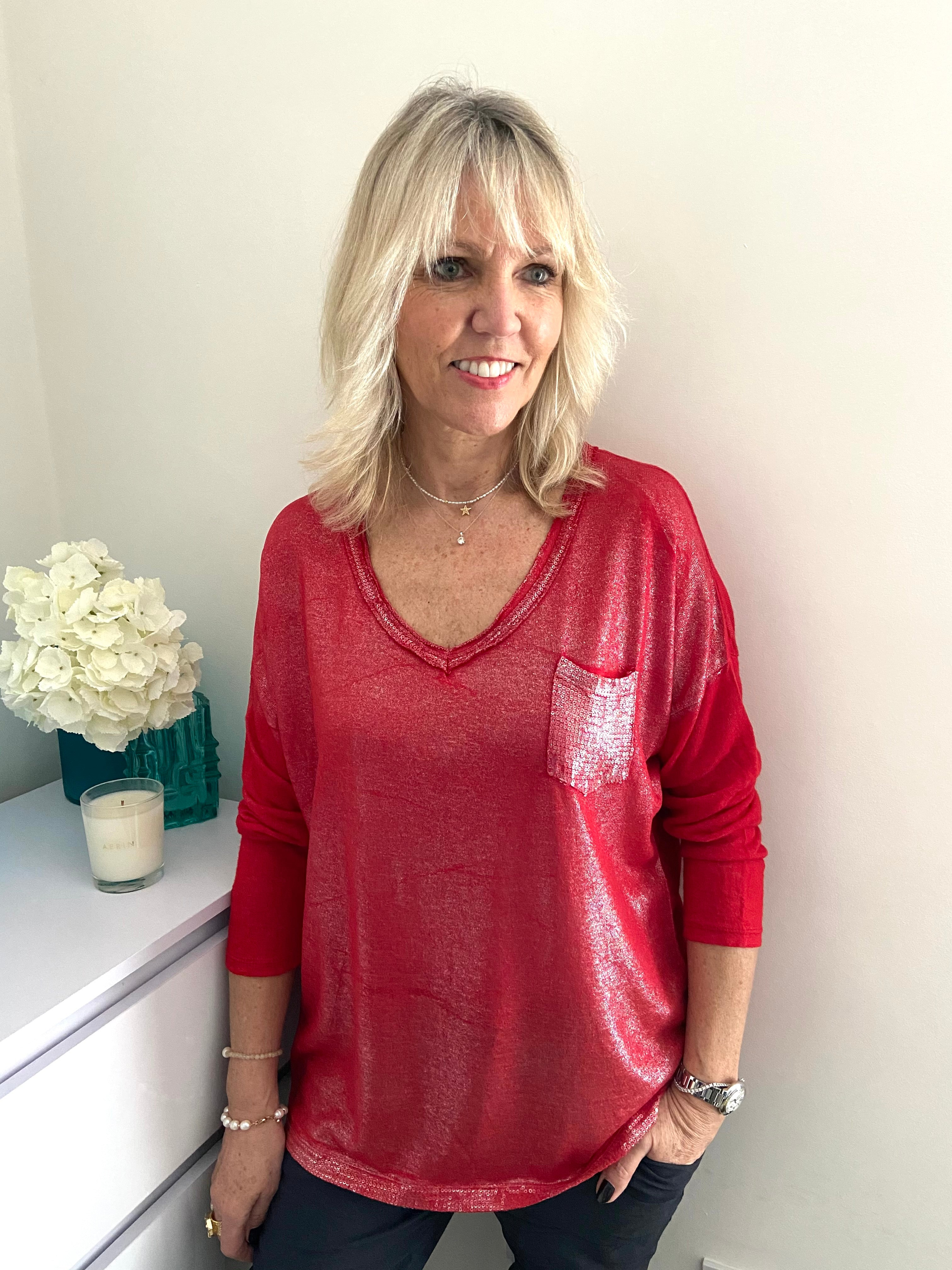 Shimmery Pocket Top in Red