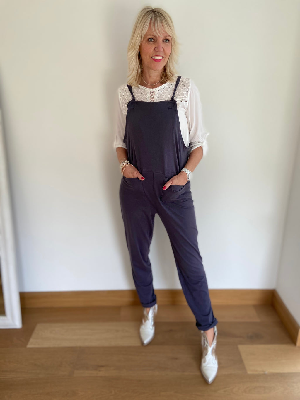 Light Jersey Dungarees in Charcoal