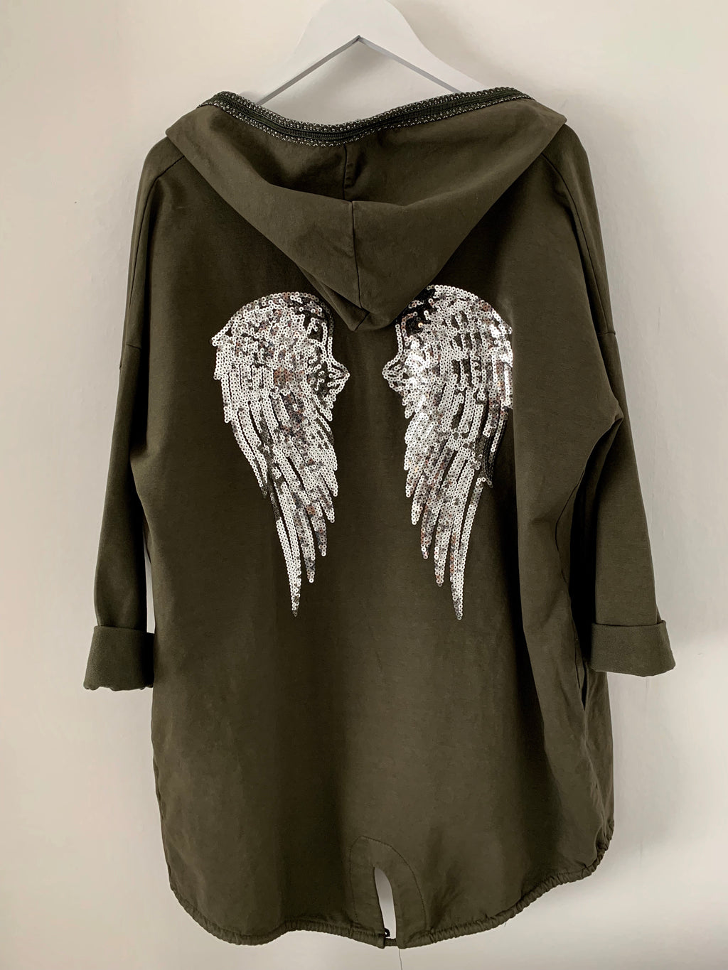 Khaki Cotton Parka with Angel Wings