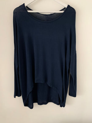 Navy Basic Long Sleeve Top