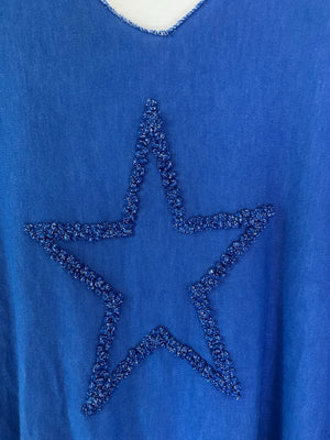 Blue Two Piece Top with Shimmery Star