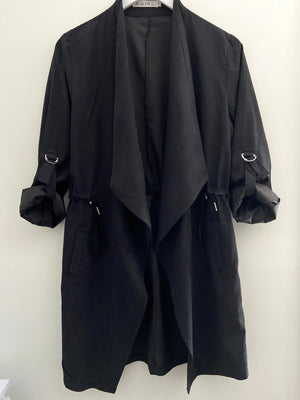 Black Jacket with Drawstring Waist