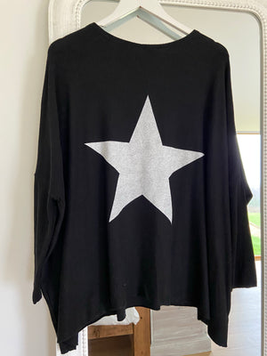 Reversible Poncho Star Jumper in Black