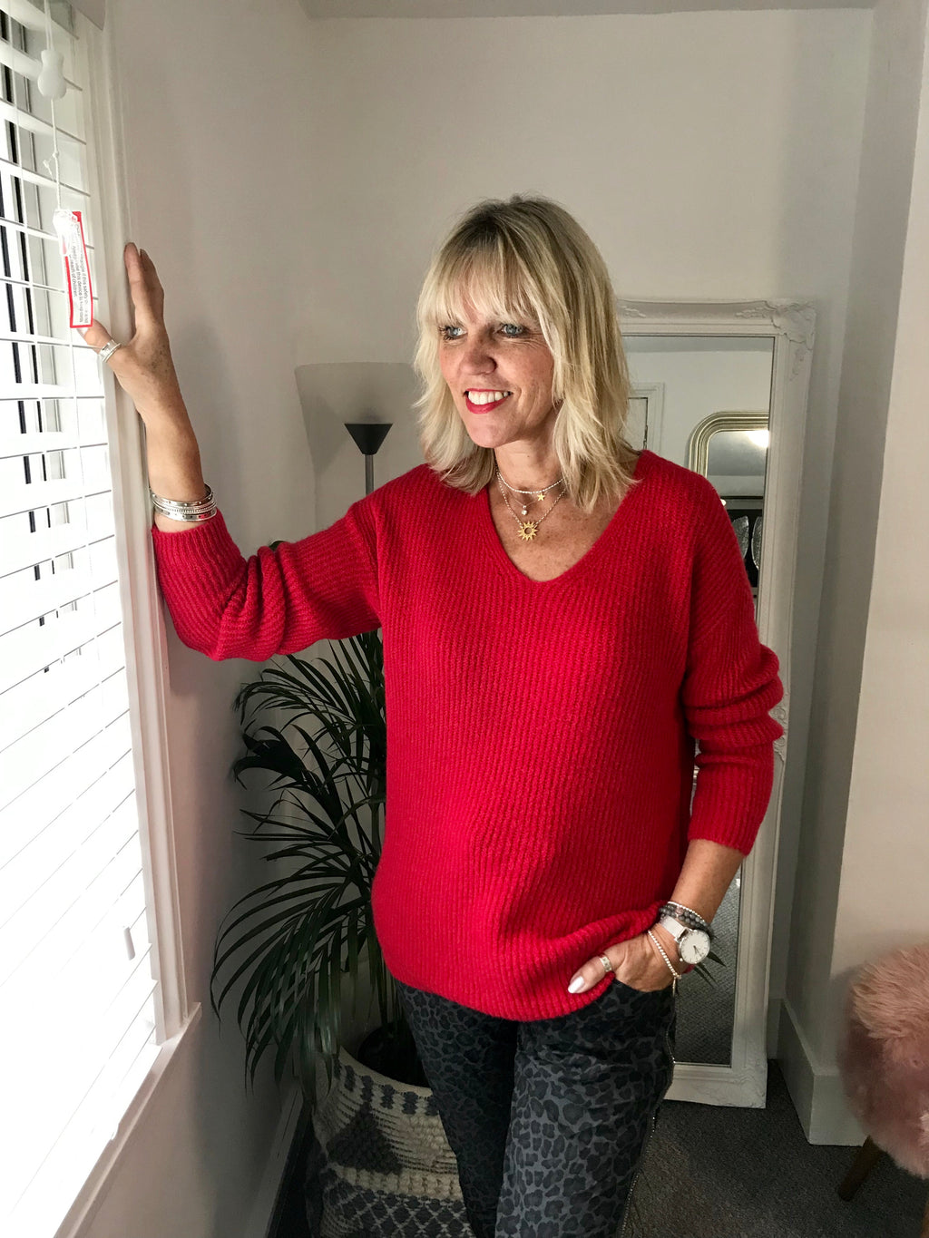Cosy Red V Neck Sweater
