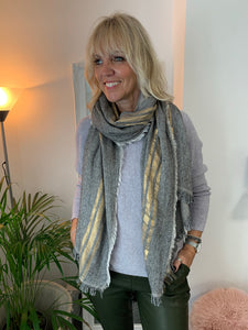 Wool Mix Scarf with Gold Stripe